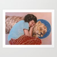 The Girl and the Lion Art Print