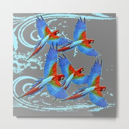 SWIRLING BLUE-GREY FLYING MACAWS ART Metal Print