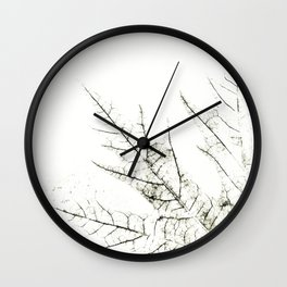 Maple Leaf Silhouette On  White Background Wall Clock