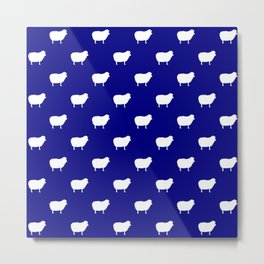 sheep dark blue white pattern Metal Print