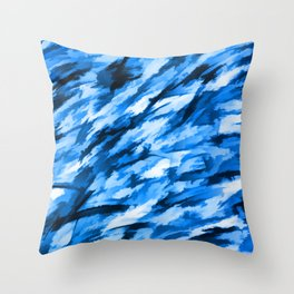 Blue on Blue Designer Camouflage pattern Throw Pillow