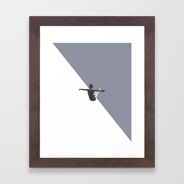Diver (grey) Framed Art Print