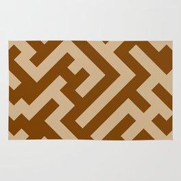 Tan Brown and Chocolate Brown Diagonal Labyrinth Rug