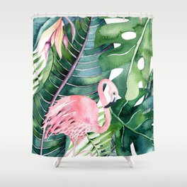 Tropical Jungle Leaves with Flamingo Shower Curtain
