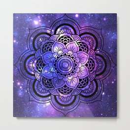 Mandala : Purple Blue Galaxy Metal Print