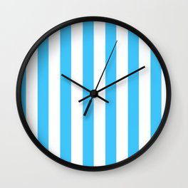 Blue and whie stripes Wall Clock