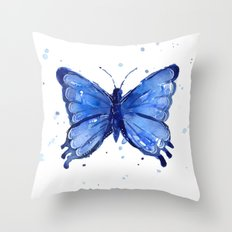 Butterfly Blue Watercolor Animal Painting Throw Pillow
