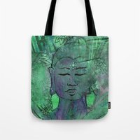 queer Tote Bags featuring Queer Buddha ~ Wisdom II by Jamila