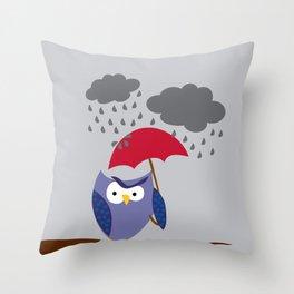 grumpy owl Throw Pillow
