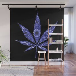 Weed : High Times Blue Floral Wall Mural