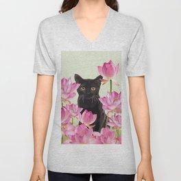 Lotus Flower Blossoms Black Cat Unisex V-Neck