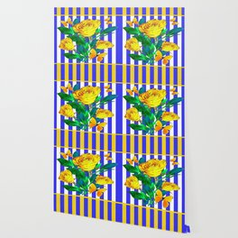 YELLOW SPRING ROSES & BUTTERFLIES WITH LILAC STRIPES Wallpaper