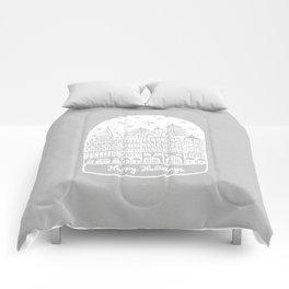 Linocut White Holidays Comforters
