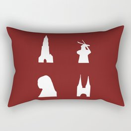 Delft silhouette on red Rectangular Pillow