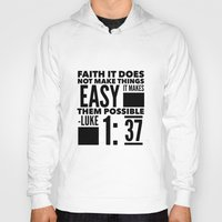 bible verse Hoodies featuring Faith Does Not Make Things Easy- Biblical Verse by PA Melvin