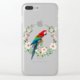 Watercolour Tropical Flowers Wreath Red Green Macaw Clear iPhone Case