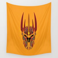 lord of the rings Wall Tapestries featuring The Lord of the Rings Helm of Sauron by Tuyệt Duyệt