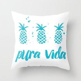 Pura Vida Pineapples in Blue Throw Pillow