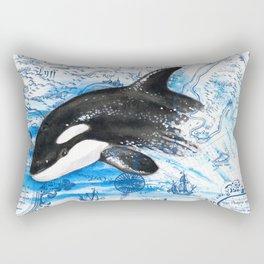 Breaching Baby Orca Watercolor Blue vintage Map Rectangular Pillow