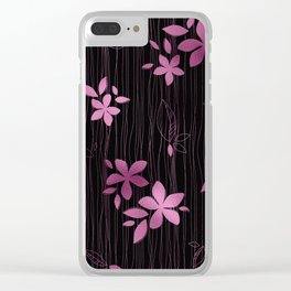 Colorful Art Deco Pink Flower Pattern Clear iPhone Case