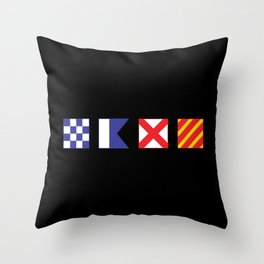 N - A - V - Y Spelled out in Signal Flags Throw Pillow