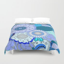 Blue Summer Boho Floral Pattern Duvet Cover