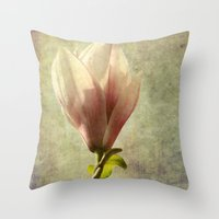 magnolia Throw Pillows featuring magnolia by John Beswick
