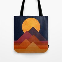 mountain Tote Bags featuring Full moon and pyramid by Picomodi
