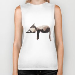 Sleepy Kitten in Watercolor - Brown Cat Sleeping Biker Tank