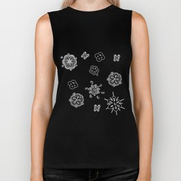 flowers on white background Biker Tank