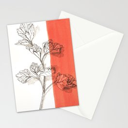 parsley branch nature watercolor orange Stationery Cards