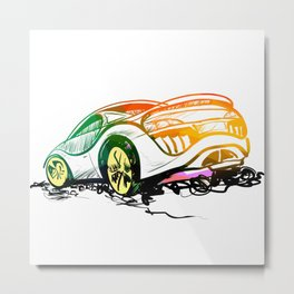 Speed sketch graffiti sport car in green and orange colors Metal Print
