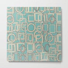 picture frames aplenty indigo duck egg blue Metal Print
