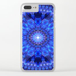 Azure Shield Mandala Clear iPhone Case