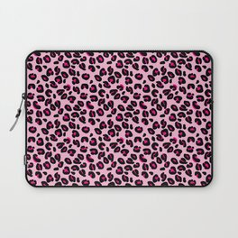 Cotton Candy Pink and Black Leopard Spots Animal Print Pattern Laptop Sleeve