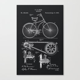 Vintage Bicycle patent illustration 1890 Canvas Print