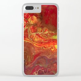 Acrylic Pour #45 Lava-Love Clear iPhone Case