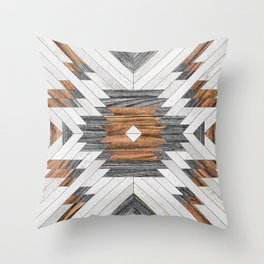 Urban Tribal Pattern No.8 - Aztec - Wood Throw Pillow