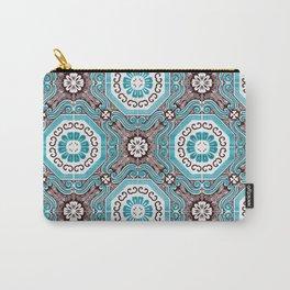 Portuguese Tiles Azulejos Aquamarine Black White Pattern Carry-All Pouch