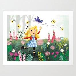Goldilocks in Flower Garden Art Print