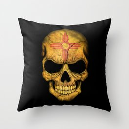 Dark Skull with Flag of New Mexico Throw Pillow
