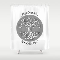 vikings Shower Curtains featuring Yggdrasil, Vikings by ZsaMo Design