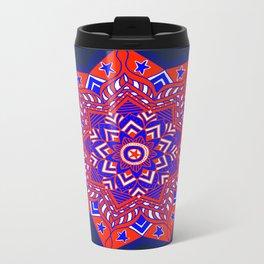 Red White and Blue Mandala star swirl Metal Travel Mug