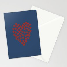 Hearts Heart Red on Navy Stationery Cards