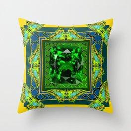 YELLOW  DECORATIVE  GREEN EMERALD GEM & BUTTERFLY ART Throw Pillow