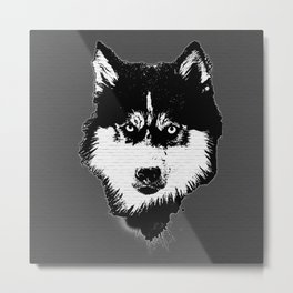 husky dog face grafiti spray art Metal Print