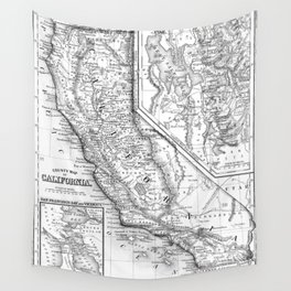Vintage Map of California (1860) BW Wall Tapestry