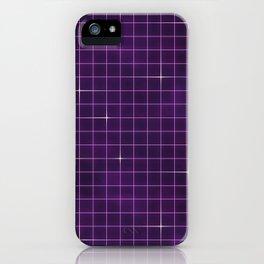 Purple retrowave grid iPhone Case