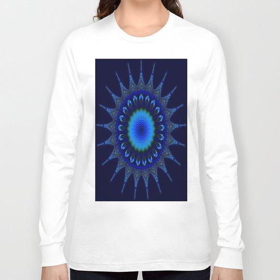 Blue kaleidoscope fractal star Long Sleeve T-shirt
