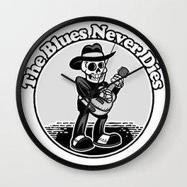 """The Blues Never Dies"" Old Skeleton Bluesman Wall Clock"